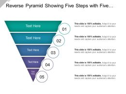 Reverse Pyramid Showing Five Steps With Five Different Colors