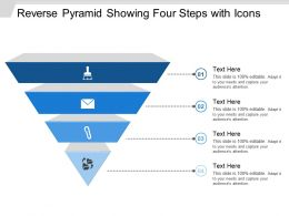 Reverse Pyramid Showing Four Steps With Icons
