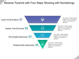 Reverse Pyramid With Four Steps Showing With Numberings