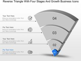 Reverse Triangle With Four Stages And Growth Business Icons Powerpoint Template Slide
