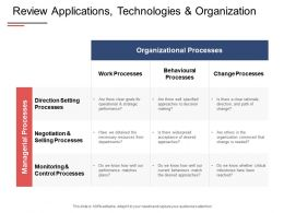 Review Applications Technologies And Organization Monitoring Processes Ppt Powerpoint Presentation