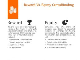 Reward Vs Equity Crowdfunding Powerpoint Slide Graphics