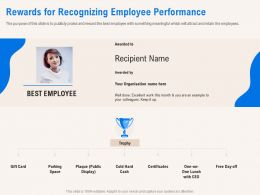 Rewards For Recognizing Employee Performance Excellent Ppt Powerpoint Presentation File Model