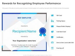 Rewards For Recognizing Employee Performance Ppt Powerpoint Presentation Ideas Vector
