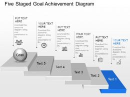 Rf Five Staged Goal Achievement Diagram Powerpoint Template