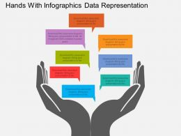 Rf Hands With Infographics Data Representation Flat Powerpoint Design