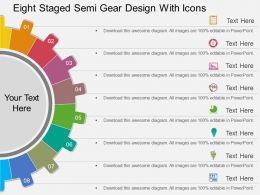 rg Eight Staged Semi Gear Design With Icons Flat Powerpoint Design