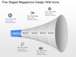 Rg Five Staged Megaphone Design With Icons Powerpoint Template