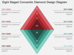 rh Eight Staged Concentric Diamond Design Diagram Flat Powerpoint Design