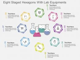 ri Eight Staged Hexagons With Lab Equipments Flat Powerpoint Design