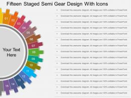 ri Fifteen Staged Semi Gear Design With Icons Flat Powerpoint Design