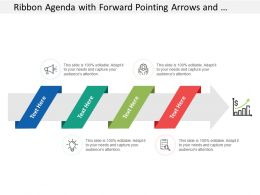 Ribbon Agenda With Forward Pointing Arrows And Growth Drivers