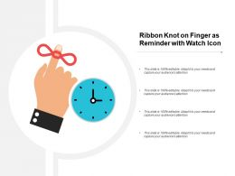 Ribbon Knot On Finger As Reminder With Watch Icon