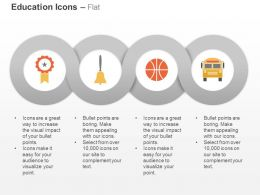 Ribbon School Bell Bus Basketball Ppt Icons Graphics