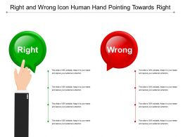 Right And Wrong Icon Human Hand Pointing Towards Right