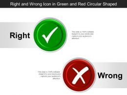 Right And Wrong Icon In Green And Red Circular Shaped