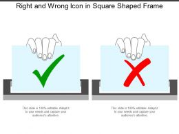 Right And Wrong Icon In Square Shaped Frame