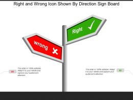 Right And Wrong Icon Shown By Direction Sign Board