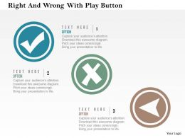 Right And Wrong With Play Button Flat Powerpoint Design