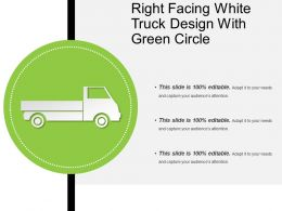 Right Facing White Truck Design With Green Circle