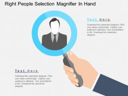 Right People Selection Magnifier In Hand Flat Powerpoint Design