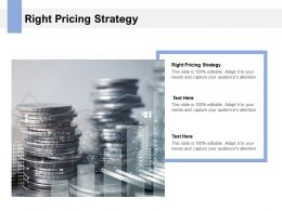 Right Pricing Strategy Ppt Powerpoint Presentation Layouts Images Cpb