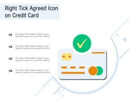 Right Tick Agreed Icon On Credit Card