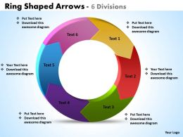 Ring Shaped Arrows 6 Divisions powerpoint Slides templates