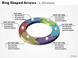 ring shaped arrows colorful split up into 6 divisions powerpoint diagram templates graphics 712