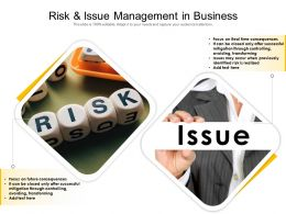 Risk And Issue Management In Business