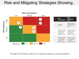 Risk And Mitigating Strategies Showing Risk Level With Description And Mitigation Plan
