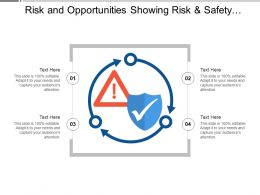 Risk And Opportunities Showing Risk And Safety Icon With 3 Circular Arrows