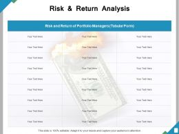 Risk And Return Analysis Ppt Powerpoint Presentation File Graphics