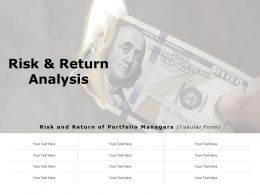Risk And Return Analysis Ppt Powerpoint Presentation Visual Aids Pictures