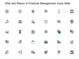 Risk And Return In Financial Management Icons Slide Strategy Ppt Powerpoint Presentation Graphics