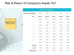 Risk And Return Of Companys Assets YoY Portfolio Ppt Powerpoint Presentation Layouts Topics