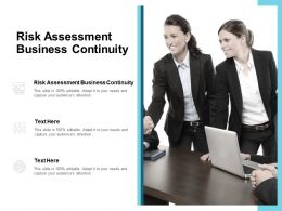 Risk Assessment Business Continuity Ppt Powerpoint Presentation Summary Shapes Cpb