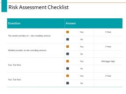 Risk Assessment Checklist Ppt Powerpoint Presentation Visual Aids Example 2015