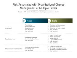 Risk Associated With Organizational Change Management At Multiple Levels