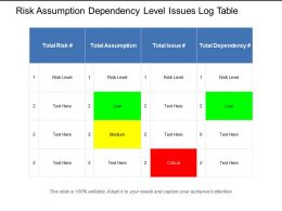 Risk Assumption Dependency Level Issues Log Table
