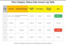 Risk Category Status Date Issues Log Table