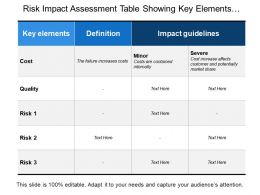 Risk Impact Assessment Table Showing Key Elements And Guidelines