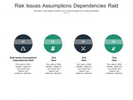 Risk Issues Assumptions Dependencies Raid Ppt Powerpoint Presentation Infographics Skills Cpb
