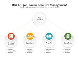 Risk List For Human Resource Management