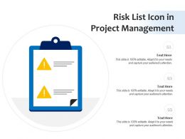 Risk List Icon In Project Management