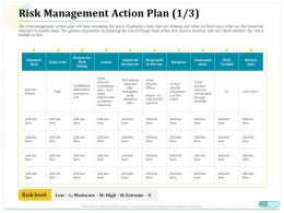 Risk Management Action Plan Risk Level Ppt Powerpoint Layouts