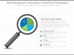 Risk Management Calculations Powerpoint Presentation