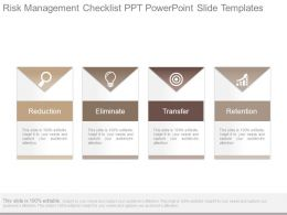 Risk Management Checklist Ppt Powerpoint Slide Templates
