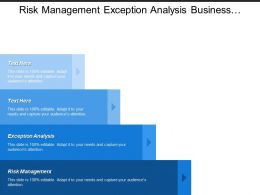 Risk Management Exception Analysis Business Function Budget Proposal