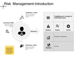 Risk Management Introduction Assessment Of Risks Ppt Powerpoint Presentation File Styles